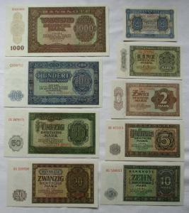 Satz DDR mit 9 Banknoten 50 Pfennig - 1000 Mark 1948 KASSENFRISCH ! (112167)