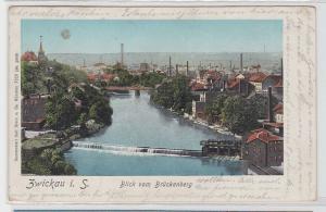 93073 AK Zwickau in Sachsen - Blick vom Brückenberg, leuchtende Fenster 1902