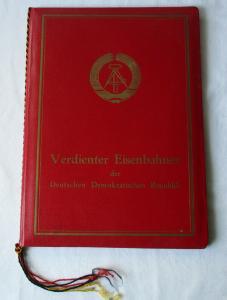 DDR Urkunde in Original Urkundenmappe Verdienter Eisenbahner 1964 (123473)