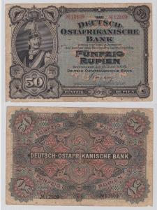 Seltene Banknote Deutsch-Ostafrika DOA 50 Rupien 15. Juni 1905 (125553)