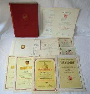 Umfangreiches DDR Urkundenkonvolut Lokführer ab 1954, Aufbaunadel (127269)
