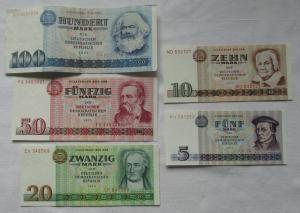 Satz DDR Banknoten 5 bis 100 Mark 1971/1975 teils kassenfrisch (113441)