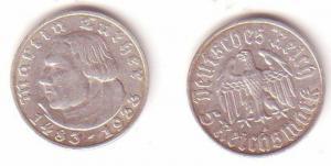 5 Mark Silber Münze Martin Luther 1933 A Jäger 353 (MU1078)
