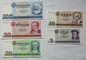 Satz DDR Banknoten 5 bis 100 Mark 1971/1975 UNC./ KASSENFRISCH ! (104763)