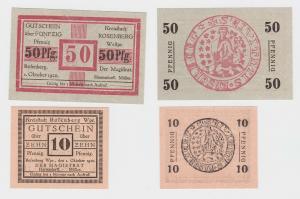 10 & 50 Pfennig Banknoten Notgeld Kreisstadt Rosenberg Westpreussen (114722)