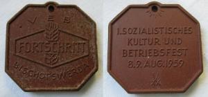 DDR Medaille VEB Mähdrescherwerk Fortschritt Bischofswerda Betriebsfest (116130)