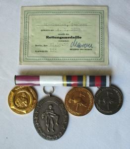 DDR 4er Ordensspange mit Rettungsmedaille Nr. 155 verliehen 1955 (103384)