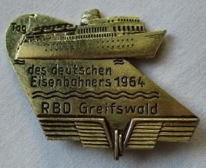 DDR Abzeichen Tag des deutschen Eisenbahners 1964 RBD Greifswald (104469)