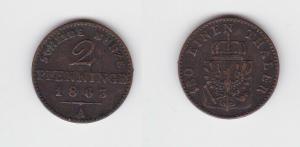 2 Pfennige Kupfer Münze Preussen 1863 A (130566)