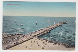 59556 AK Ostseebad Zoppot (Sopot) - Seesteg, Seebrücke, Boote am Strand 1912