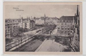 93446 AK Leipzig - Dittrichring, Straßenansicht mit Straßenbahnen und Geschäften