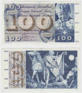 100 Franken Banknote Schweiz 1956 Schweizerische Nationalbank (126578)