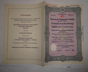 1000 Reichsmark Schuldverschreibung Bayerische Kommunal Anleihe 1942 (127948)