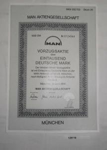 1000 DM Aktie MAN Aktiengesellschaft München im Juni 1986 (128116)