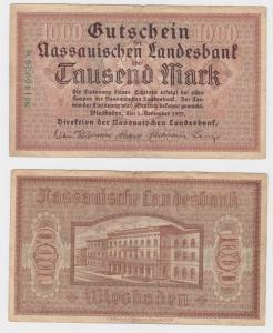 1000 Mark Banknote Wiesbaden Nassauische Landesbank 1.11.1922 (128255)