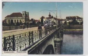 93406 AK Diedenhofen - Moselbrücke, Straßenansicht mit Straßenbahn 1918