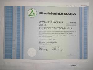 20 x 50 Mark Aktie Rheinhold & Mahla AG München im August 1991 (128115)