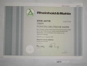 50 Mark Aktie Rheinhold & Mahla AG München im August 1991 (128115)