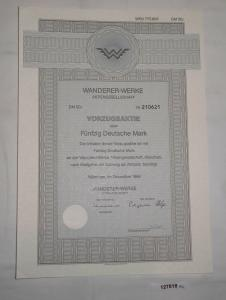 50 Mark Aktie Wanderer Werke AG München Dezember 1986 (127947)