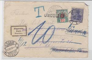 85077 Brief Vorderseite 10 Rappen ungültig + 20 Pfennig Zürich nach Zeitz 1919