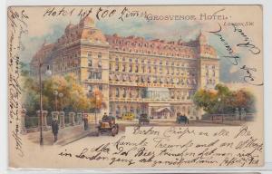 93625 Künstler AK London - Grosvenor Hotel davor Automobile und Kutschen 1908