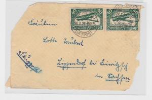 89149 Brief Vorderseite Deutsche Flugpost 40 Pfennig Westerland-Lippendorf 1921