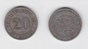 20 Pfennig Nickel Münze Deutsches Reich 1890 A Jäger 14 (126939)