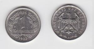 1 Mark Nickel Münze III.Reich 1933 A Jäger Nr. 354 (126792)