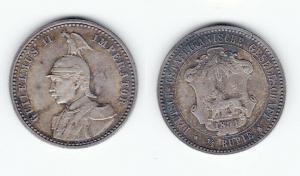 1/4 Rupie Silber Münze Deutsch Ostafrikanische Gesellschaft 1891 (127458)