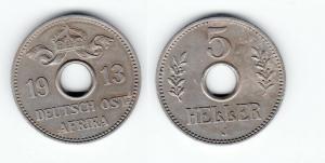 5 Heller Kupfer-Nickel Münze Deutsch Ostafrika 1913 J (123088)