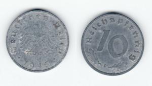 10 Reichspfennig Zink Münze 3.Reich 1945 F Jäger 375 (120923)
