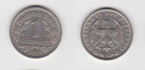 1 Mark Nickel Münze III.Reich 1937 D Jäger Nr. 354 (123600)