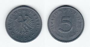 5 Pfennig Zink Münze alliierte Besatzung 1947 D Jäger 374 (120557)