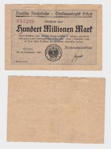 100 Millionen Mark Banknote Reichsbahndirektion Erfurt 22.9.1923  (118735)