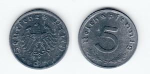 5 Pfennig Zink Münze alliierte Besatzung 1947 D Jäger 374 (123972)