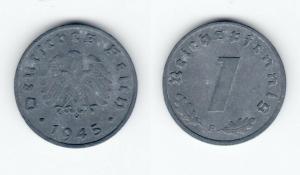 1 Pfennig Zink Münze Alliierte Besatzung 1945 F (128205)