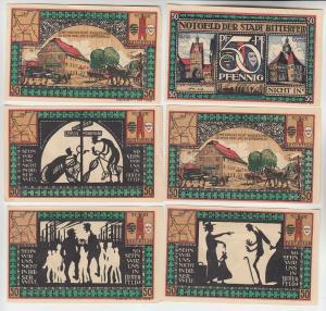 6 Banknoten 50 Pfennig Notgeld Stadt Bitterfeld 1921 (113572)