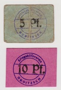 5 & 10 Pfennig Banknoten Notgeld Kriegshilfsverein Groitzsch ohne Jahr  (120745)