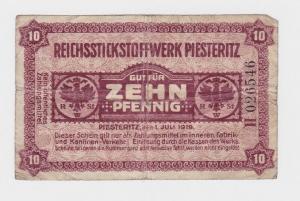 10 Pfennig Banknote Notgeld Reichsstickstoffwerk Piesteritz 1.7.1919  (120537)