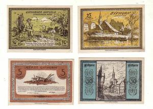 4 Banknoten 5, 10, 25, 50 Pfennig Notgeld Stadt Gifhorn 1921 (114045)