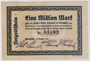 1 Million Mark Banknote Firma Gebr.Schmidt Groitzsch 15.8.1923 (120374)