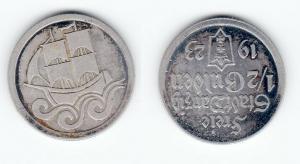 1/2 Gulden Nickel Münze Danzig 1923 Jäger D 6 (123059)