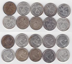 10 Silbermünzen 3.Reich 5 Mark Hindenburg mit HK (117400)