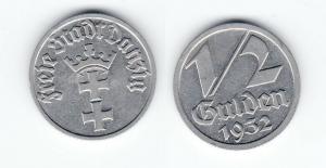 1/2 Gulden Nickel Münze Danzig 1932 Jäger D 14 (120712)