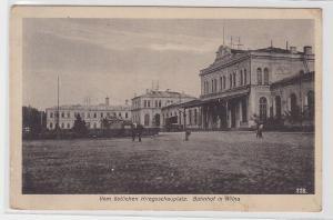 88183 Feldpost Ak vom östlichen Kriegsschauplatz Bahnhof in Wilna Vilnius 1917