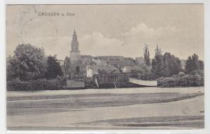93722 AK Crossen an der Oder (Krosno Odrzańskie) - Stadtansicht mit Kirche 1908