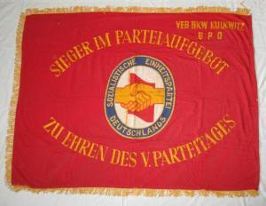 Original DDR SED Fahne Flagge Sieger im Parteiaufgebot V. Parteitag 1958 /125975