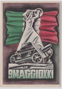 87630 Patriotika AK 9MAGGIOXXI -italienische Flagge hinter Statue & Panzer 1943