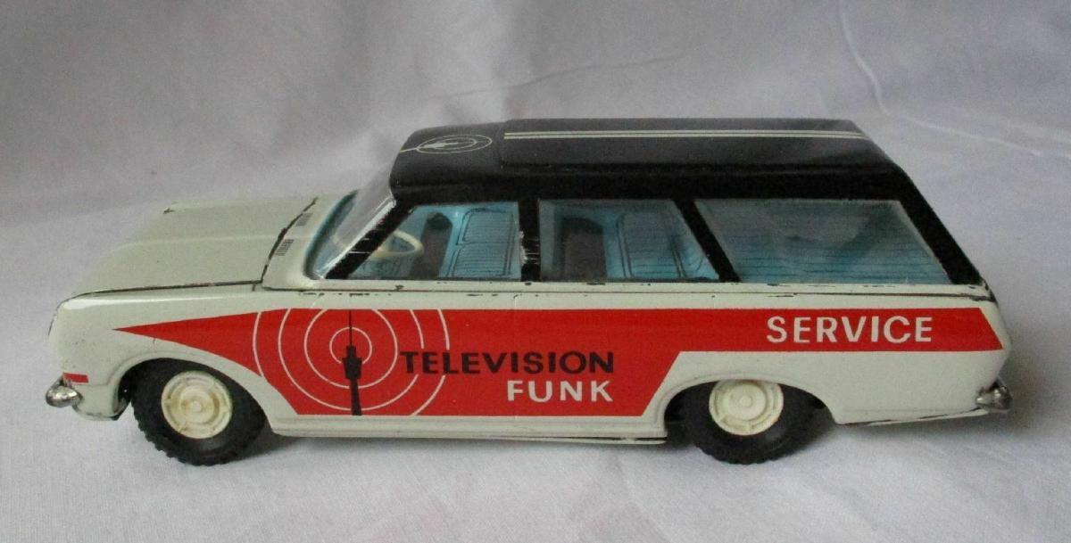 DDR Modellauto Spielzeug Schwungrad Ehri Television Funk Service Wagen (124177) 0