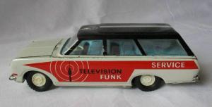DDR Modellauto Spielzeug Schwungrad Ehri Television Funk Service Wagen (124177)